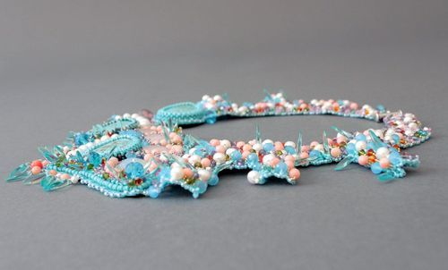 Necklace made of pearls, corals, beads and crystals Soft touch - MADEheart.com