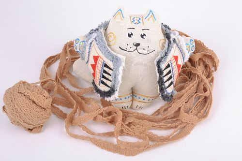 Scented handmade fabric soft toy filled with buckwheat husk Cat - MADEheart.com
