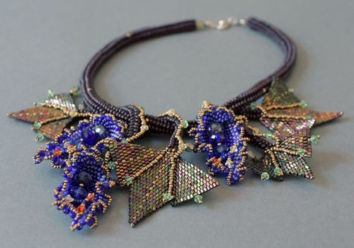 Necklace Made of Czech and Japanese Beads and Glass Queen Hatshepsut - MADEheart.com