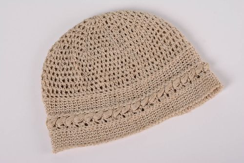 Handmade designer lacy beige womens hat crocheted of cotton threads  - MADEheart.com