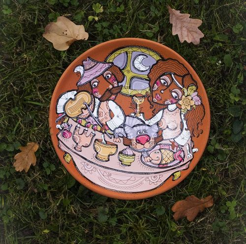 Decorative plate made of clay Festive dinner - MADEheart.com
