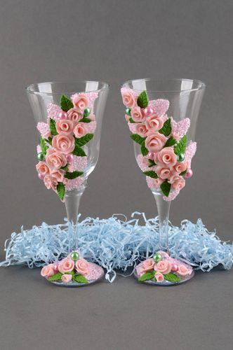 Handmade glass champagne glasses gift ideas glasses for wedding set of 2 items - MADEheart.com