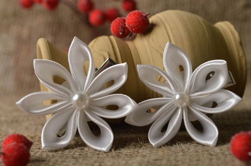 Beautiful handmade flower barrette wedding hair clip 2 pieces gifts for her - MADEheart.com