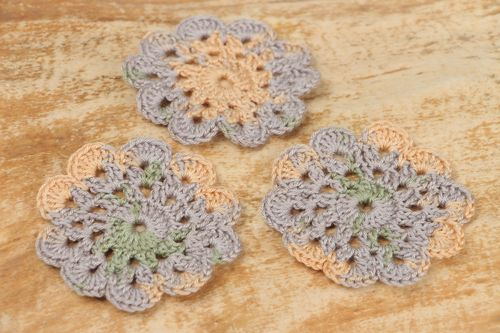 Set of handmade crochet flower coasters for cups 3 items - MADEheart.com