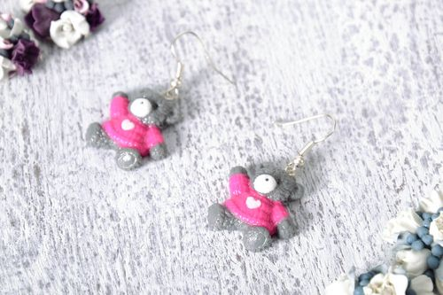 Earrings Made of Polymer Clay Bears - MADEheart.com