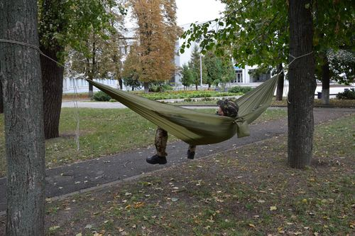 Handmade hammock tourist equipment present for men khaki hammock gift for guy - MADEheart.com