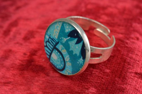 Blue handmade designer decoupage epoxy ring on metal basis - MADEheart.com