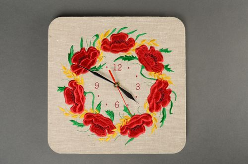 Handmade wall clock with embroidery - MADEheart.com