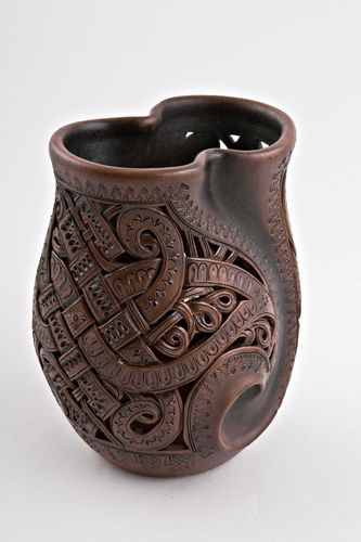 Brown 7 inches decorative table vase in laced clay technique 1 lb - MADEheart.com