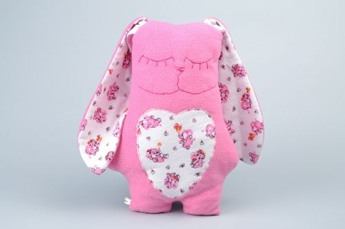 Handmade interior fleece pillow pet in the shape of pink rabbit with long ears - MADEheart.com