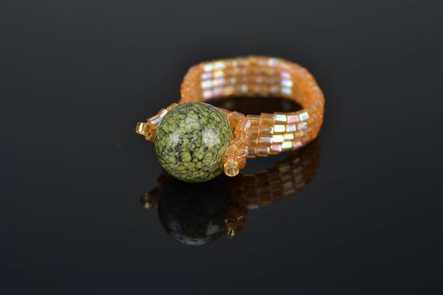Unusual beaded ring with natural stone - MADEheart.com
