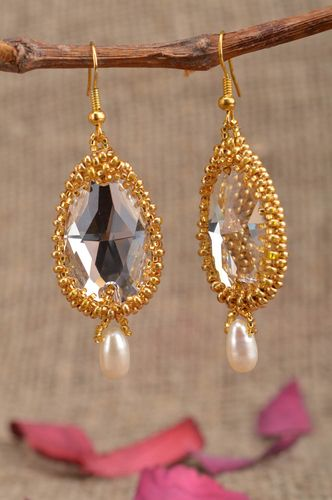 Handmade golden large massive dangle drop earrings with beads and crystals - MADEheart.com