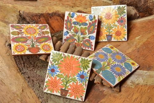 Tiles for fireplace and wall decor set of 5 small square handmade panels - MADEheart.com