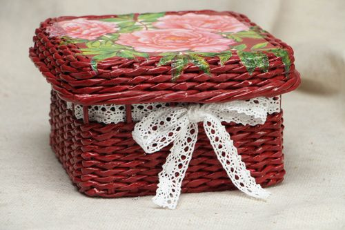 Square woven paper basket - MADEheart.com