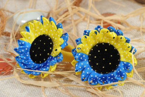 Set of 2 decorative hair bands with satin sunflowers of yellow and blue colors - MADEheart.com