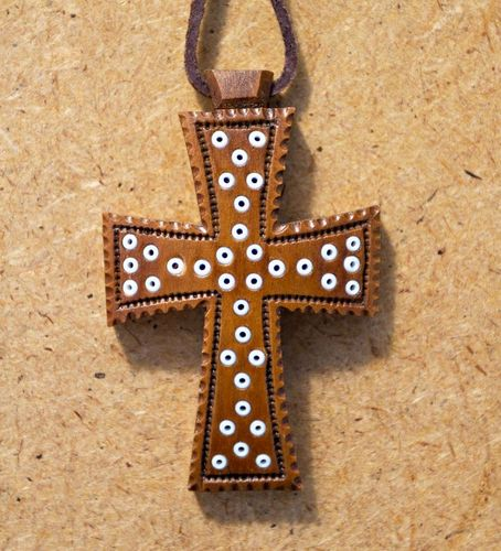 Wooden cross with beads - MADEheart.com