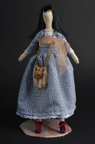Cute handmade soft fabric toy doll in blue long dress amazing gift for girl - MADEheart.com