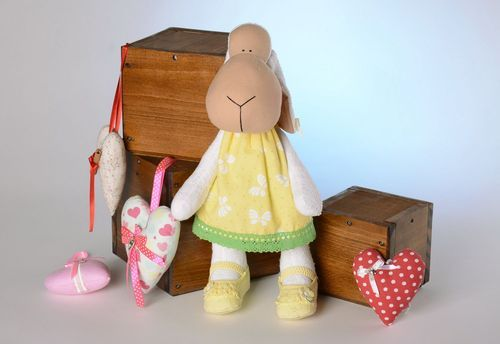 Tilde toy Lamb in a yellow sundress - MADEheart.com