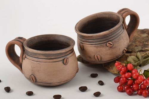 Handmade coffee cups coffee dishes clay cups 2 items of 100 ml brown clay cups  - MADEheart.com