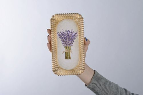 Wall panel made from plaster Lavender bouquet - MADEheart.com