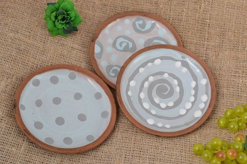 Handmade ceramic plates clay dishes painted plates 3 painted plates clay plate   - MADEheart.com