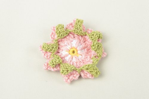Handmade pink designer flower unusual blank for brooch crocheted fittings - MADEheart.com