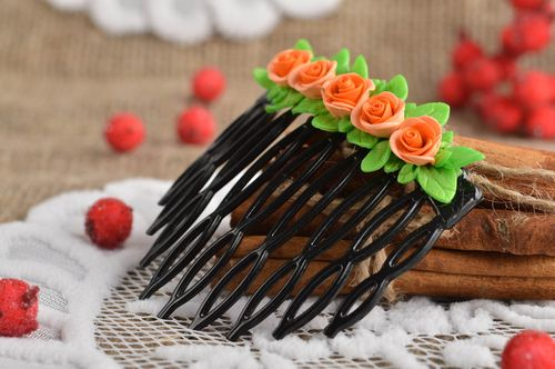 Handmade designer hair comb unusual flower hair comb stylish accessory - MADEheart.com