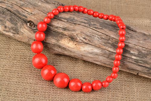 Handmade wooden bead necklace with large red beads - MADEheart.com