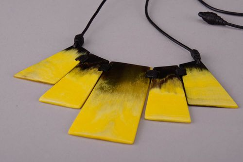 Yellow Necklace Made of Horn - MADEheart.com