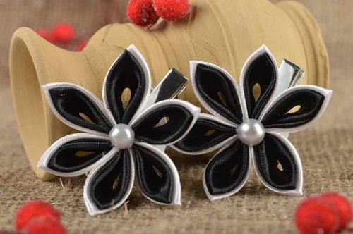 Beautiful handmade fabric barrette hair clip 2 pieces flowers in hair gift ideas - MADEheart.com