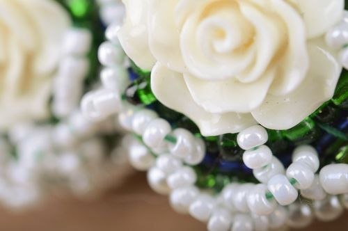 Handmade festive large white and green beaded stud earrings with roses - MADEheart.com
