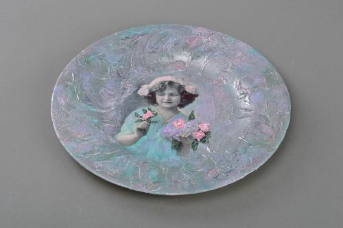 Handmade designer decoupage glass plate in vintage style in blue color palette - MADEheart.com