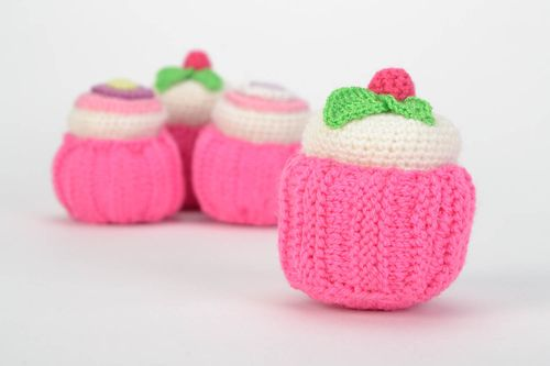Unusual beautiful handmade crochet soft cake for children and home decor - MADEheart.com