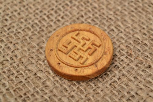 Wooden handmade amulet Slavonic round eco clean Fern flower - MADEheart.com
