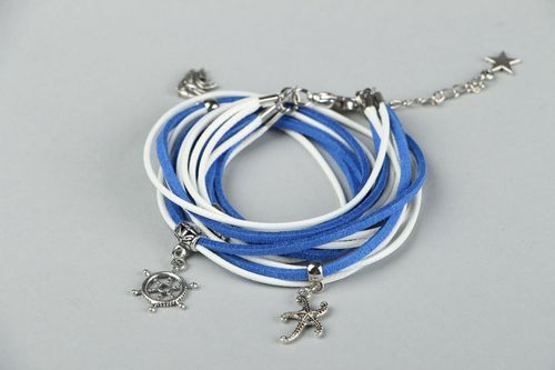 Suede bracelet in marine style - MADEheart.com