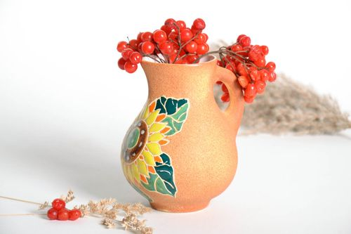 30 oz ceramic water pitcher with handle and sunflower pattern 0,75 lb - MADEheart.com