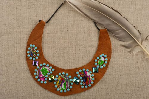 Brown leather accessory handmade stylish necklace female cute necklace - MADEheart.com