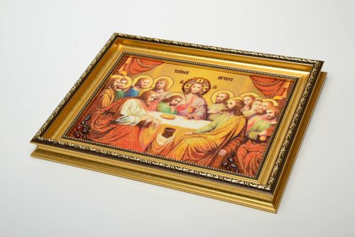 Reproduction of the Last Supper icon decorated with amber - MADEheart.com