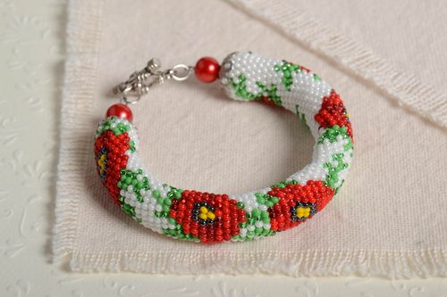 Unusual homemade beaded cord bracelet wrist bracelet with beads gifts for her - MADEheart.com