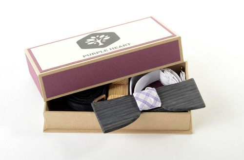 Wooden bow tie handmade modern bow tie wooden accessories present for men  - MADEheart.com