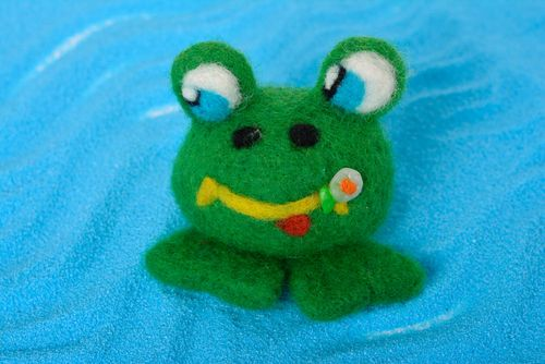 Handmade textile toy unusual lovely accessories stylish beautiful frog - MADEheart.com