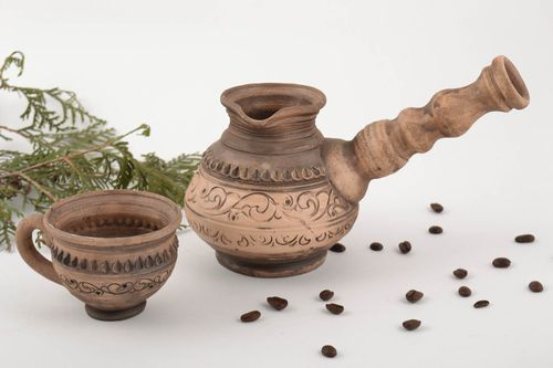 Handmade ceramic set for coffee cooking cup and ibrik 150 and 500 ml - MADEheart.com