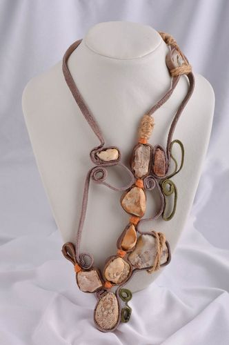 Designer necklace with natural stones leather jewelry handmade accessories - MADEheart.com