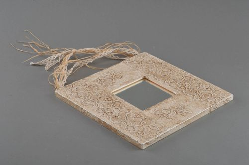 Beautiful handmade square wall mirror with imitation of Sicilian lace - MADEheart.com