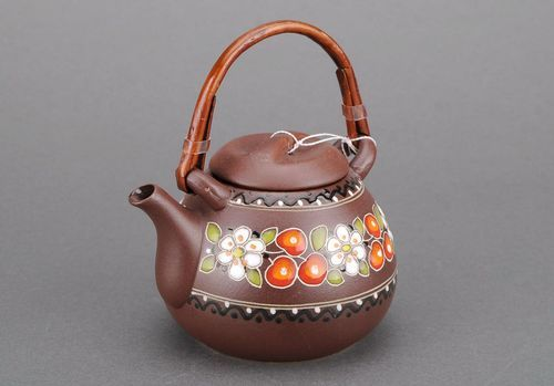 Ceramic teapot with bamboo handle - MADEheart.com