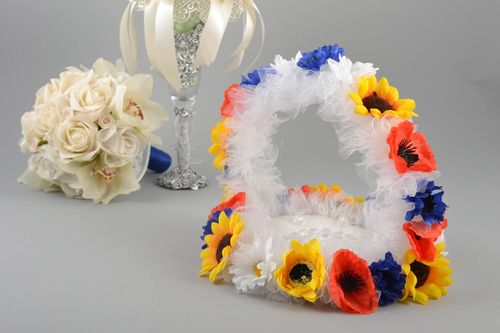 Unusual bright handmade designer wedding ring pillow with flowers - MADEheart.com