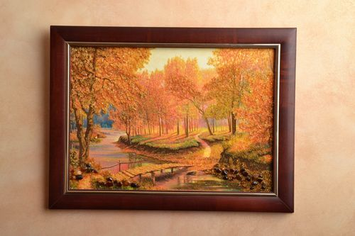 Amber decorated landscape painting  - MADEheart.com