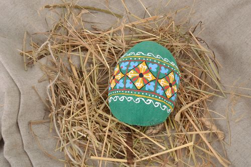 Handmade decorative wall hanging Easter egg sewn of fabric in green colors - MADEheart.com