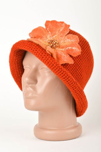 Handmade crocheted cap warm winter cap with flower winter accessories - MADEheart.com