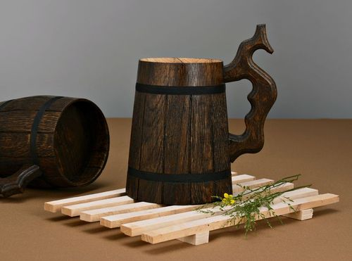 Beer mug with carved handle for decorative use only - MADEheart.com